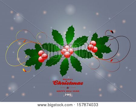Christmas Flourish and Merry Christmas Text Over Glowing Background with mistletoe