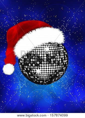 Santa Hat on Silver Disco Ball Over Blue Glowing Festive Background with Stars