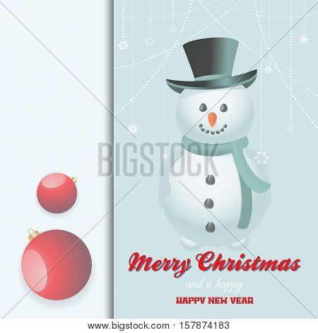 Christmas Invite Card with Snow Man Baubles Decorations and Text