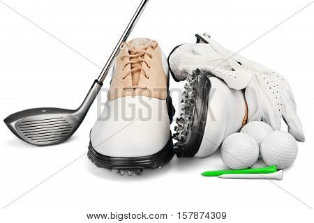 Pair of Golf Shoes with Glove, Ball, Tees and Golf Driver