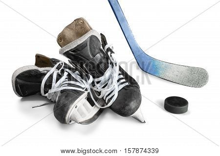 Ice Hockey Skates, Stick and Puck, Isolated on Transparent Background