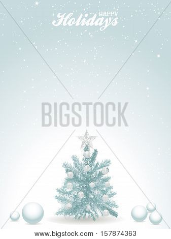 Happy Holidays Light Blue Background with Christmas Tree Spheres Snow and Text