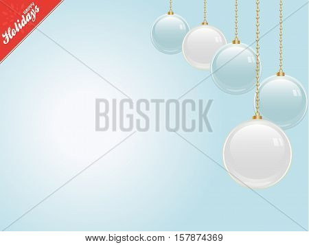Christmas Light Blue Copy Space Background with Baubles and Happy Holidays Corner Text
