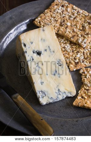 Perl Las or Blue Pearl a creamy organic hand made Welsh blue cheese produced in Carmarthenshire