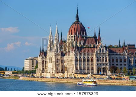 View of Hungarian Parliament Building in Budapest Hungary