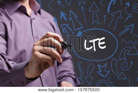 Technology, Internet, Business And Marketing. Young Business Man Writing Word: Lte