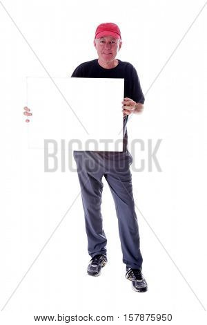 Man in a red hat holding a blank white sign with room for your text or images. isolated on white with room for your text or images.