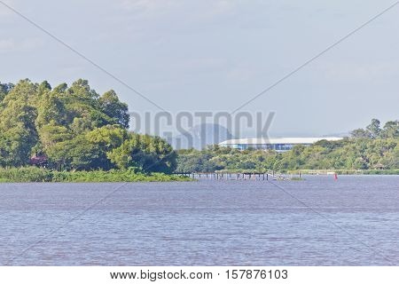 Guaiba Lake With Forest, Island And Gremio Arena In Background