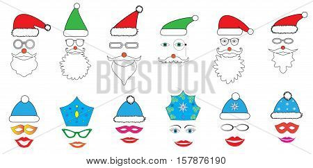 Christmas Party set - Glasses hats lips eyes diadems mustaches masks - for design photo booth in vector