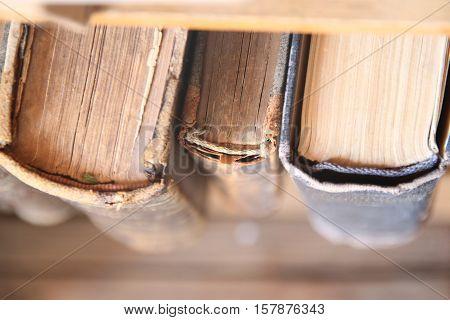 Vintage, antiquarian books books on old wooden shelf.