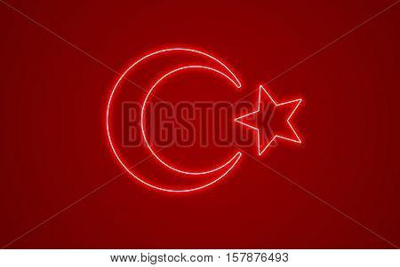 A Creative turkish flag neon style background
