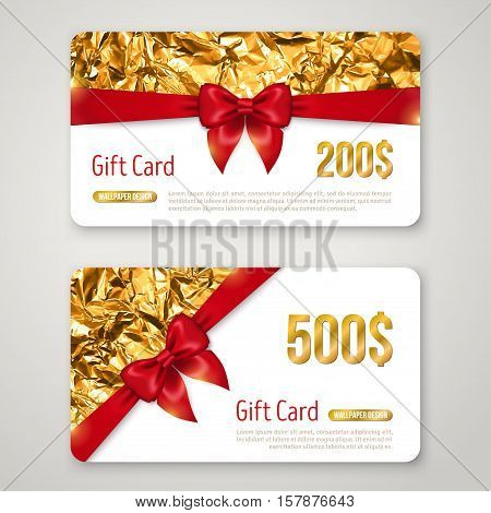 Gift Card with Golden Foil Texture and Red Bow. Invitation Decorative Card Template, Voucher Design, Holiday Invitation. Glowing New Year or Christmas Backdrop. Certificate for Shopping.