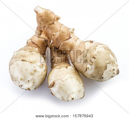 Jerusalem artichoke on a white background.