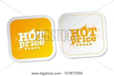 Hot price on white and yellow stickers