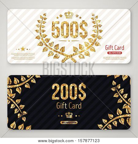 Gift card layout template with gold laurel wreath. Shopping certificate, glittering premium vip design. Vector illustration. Golden branches decorations on black background