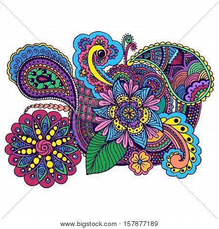 Hand drawn colored doodle. Antistress zentangle design. Color sketch floral Design. Tattoo, poster, print, t-shirt