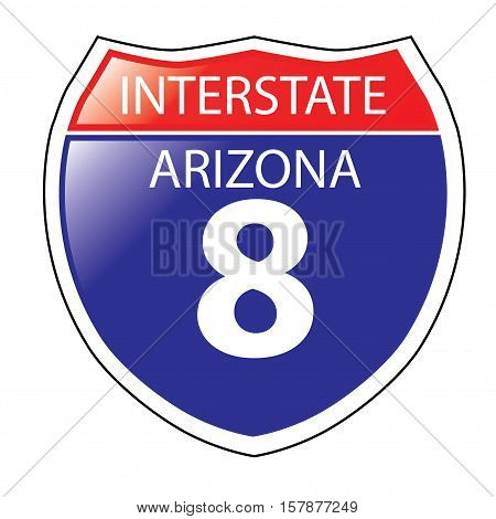 Layered artwork of Arizona I-8 Interstate Sign