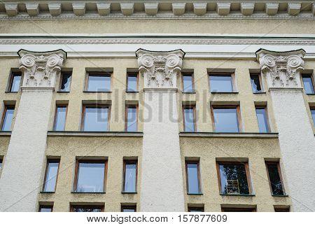 Architecture Pilaster composite style, Corinthian columns on a building facade. poster