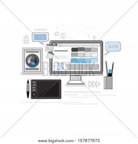 Creative Process Digital Icon Designer Professional Desktop Tablet Thin Line Vector Illustration