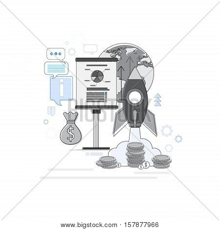 Startup Analysis Financial Business Web Banner Thin Line Vector Illustration
