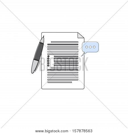 Paper Sheet Document Contract Sign Pen Web Icon Thin Line Vector Illustration