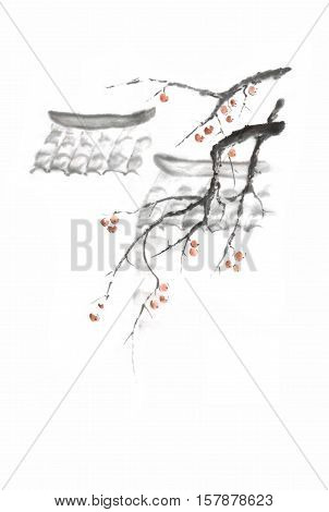 Japanese style sumi-e roofs and apples ink painting. Great for greeting cards or texture design.