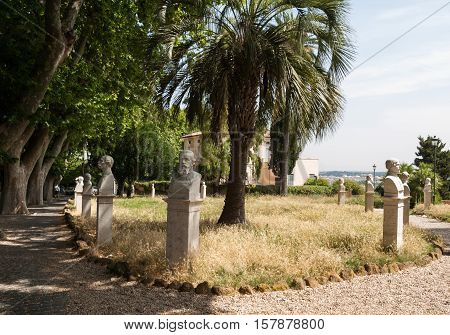 ROME, ITALY - JUNE 13, 2015: Statues in the Gianicolo park in Rome Italy