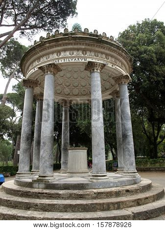 ROME, ITALY - JUNE 14, 2015: Temple of Diana in garden of Villa Borghese. Rome Italy