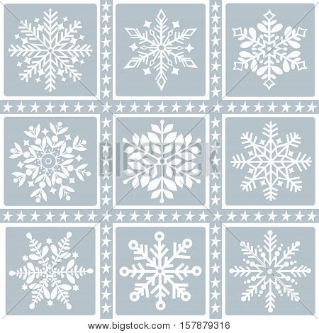 Greeting card with a set of snowflakes and stars