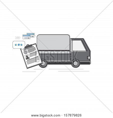 Truck Delivery Service, Lorry Car Thin Line Vector Illustration