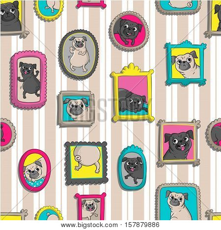 Frames with portraits of pugs. Seamless vector pattern with funny dogs.