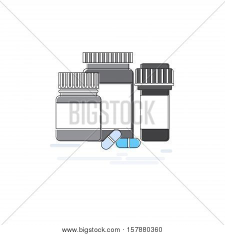 Medicines Prescription Medical Application Health Care Medicine Online Web Banner Thin Line Vector Illustration