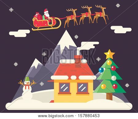 Sky Flying Sleigh Cristmas New Year House Landscape Santa Claus Icons Greeting Card Flat Design Template Vector Illustration