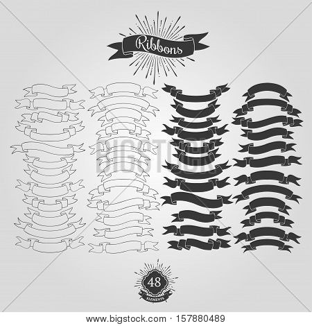 Starbursts, frames and ribbons. Vector design elements for vintage logos.