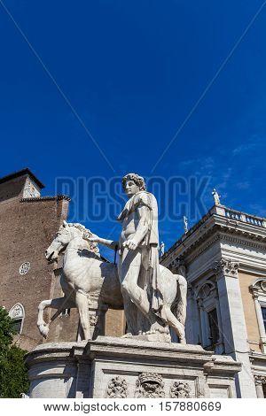 Statue of Castor at Piazza del Campidoglio in Rome, Italy