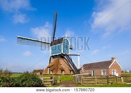 Traditional windmill in the green fields of Holland