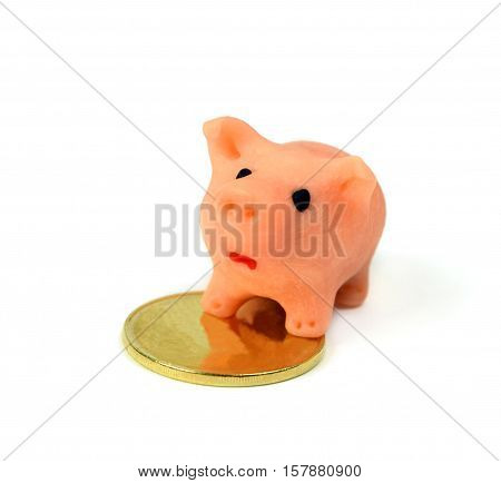 Frightened piggy pig protects the gold coin. Concept. Financial instability. Money and trust. Investments .Isolation on a white background.