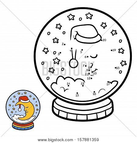 Numbers game, education dot to dot game for children, winter Snowball with moon