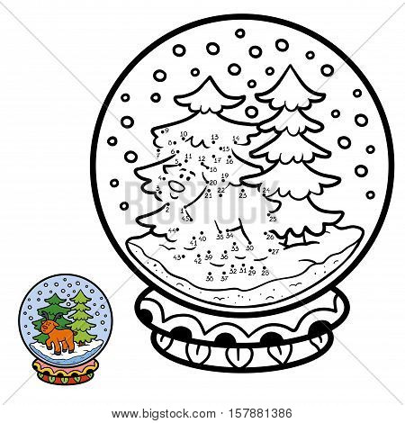 Numbers game, education dot to dot game for children, winter Snowball with deer