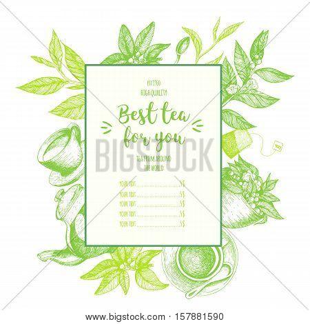 Vector illustration for tea shop. Tea frame illustration. Menu label with teapot cup tea leaves . Linear graphic.