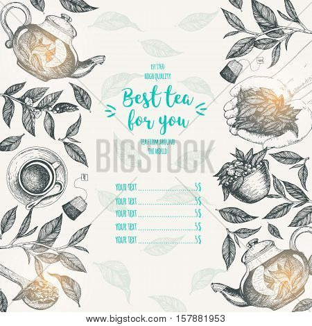 Tea shop frame vector illustration. Vector card design with tea. Tea house poster. Vector hand drawn set. Menu template with teapot cup leaves. Linear graphic