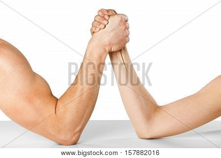 A man and woman with hands clasped arm wrestling Isolated