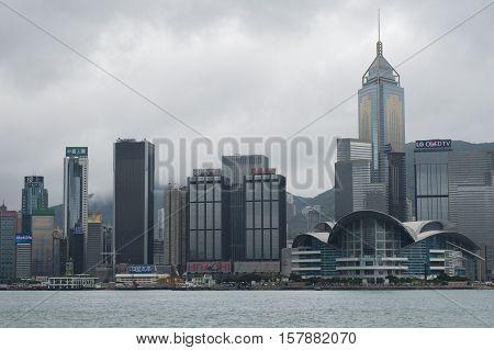 Hong Kong - October 17, 2016: Hong Kong skyline in the rainy season with smog cloud