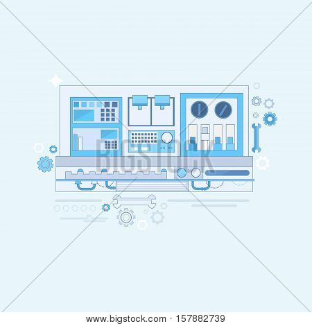 Industrial Automation Industry Production Web Banner Thin Line Vector Illustration