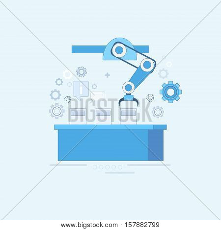 Smart Conveyor Industrial Automation Industry Production Web Banner Thin Line Vector Illustration