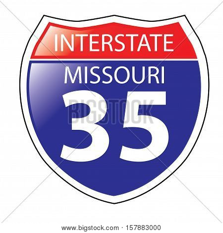 Layered artwork of Missouri I-35 Interstate Sign