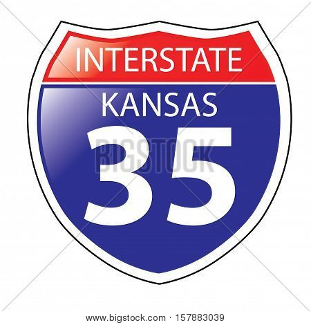 Layered artwork of Kansas I-35 Interstate Sign