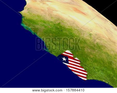 Liberia With Flag On Earth