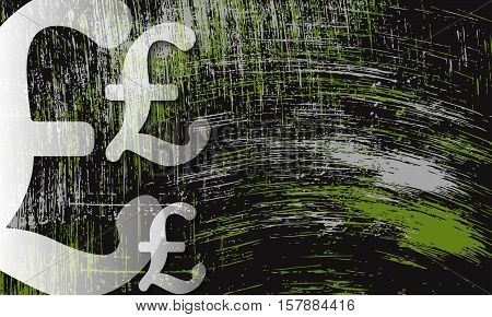 Scratched background and transparent pound sterling symbol