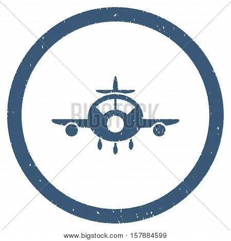 Aircraft grainy textured icon inside circle for overlay watermark stamps. Flat symbol with dust texture. Circled dotted vector blue ink rubber seal stamp with grunge design on a white background.